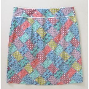 Vineyard Vines Skirt patchwork nautical fish boats